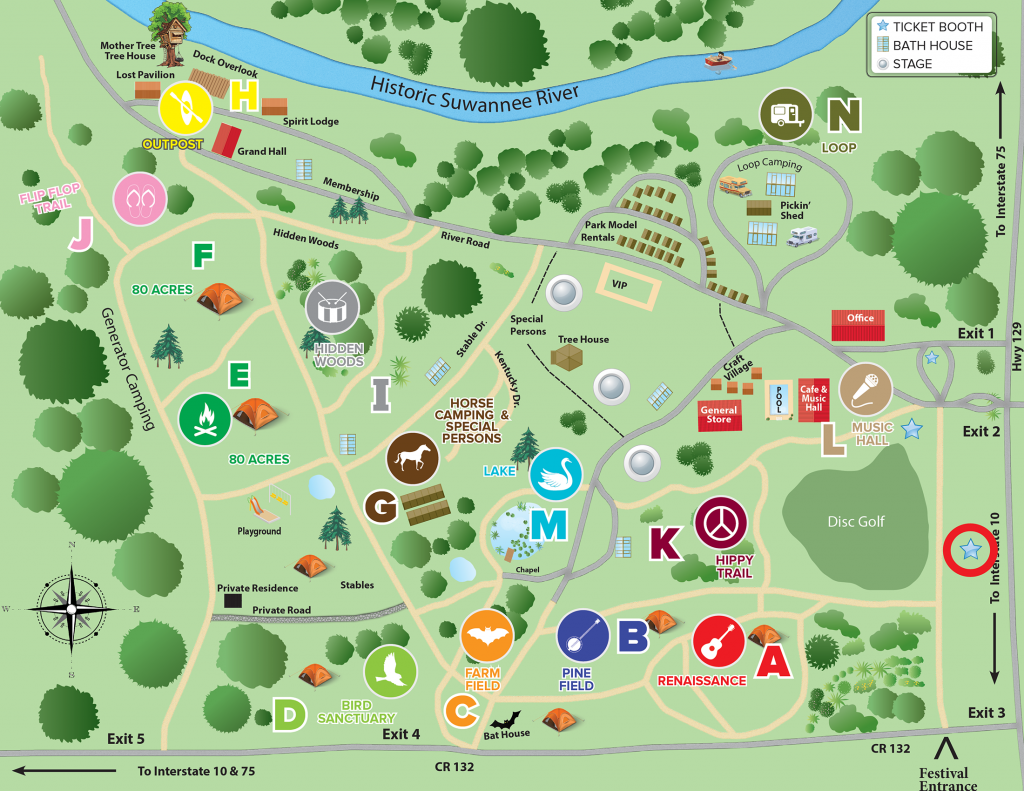 Spirit of the Suwannee Music Park & Campground - Park Map